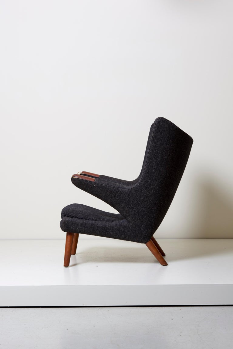 Danish Hans J. Wegner Papa Bear Chair in Black Fabric