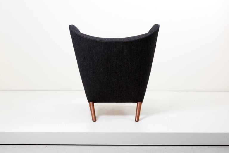 20th Century Hans J. Wegner Papa Bear Chair in Black Fabric