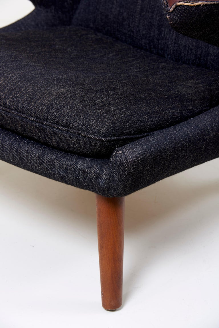 Teak Hans J. Wegner Papa Bear Chair in Black Fabric