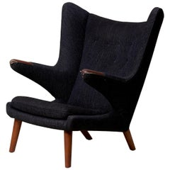 Hans J. Wegner Papa Bear Chair in Black Fabric