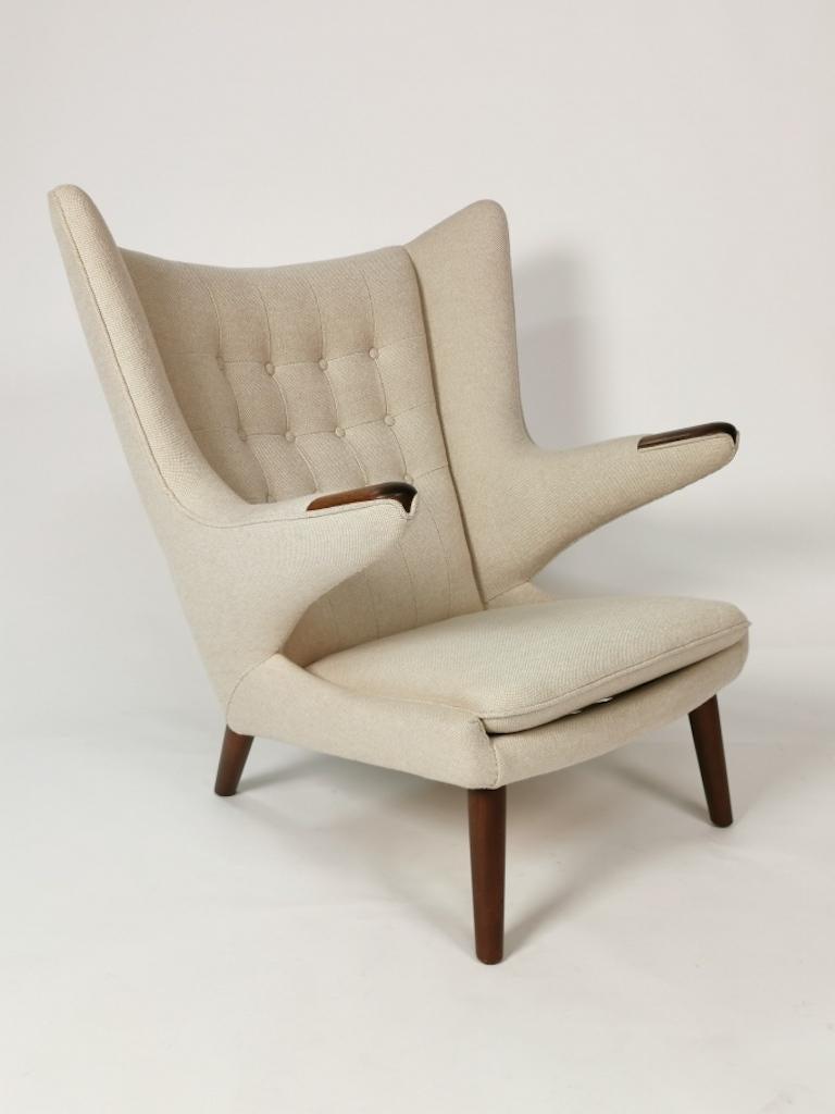 Upholstery Hans J. Wegner, Papa Bear Easy Chair by Johannes Hansen For Sale