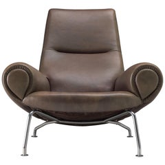 "Hans J. Wegner ""Queen"" OX Lounge Chair in Taupe Leather"