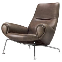 """Hans J. Wegner """"Queen"""" OX Lounge Chair in Taupe Leather"""