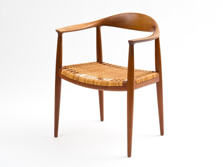 Scandinavian Modern Hans J Wegner The Chair Model JH501 in Teak with Original Cane Seat  For Sale