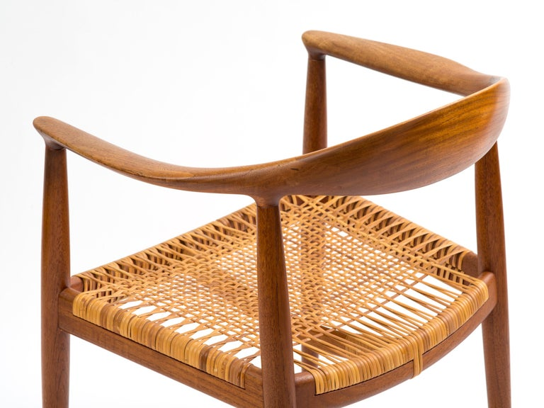 Mid-20th Century Hans J Wegner The Chair Model JH501 in Teak with Original Cane Seat  For Sale