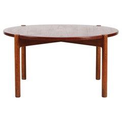 Hans J. Wegner Round Coffee Table, Oak + Teak by Johannes Hansen, Denmark, 1950s