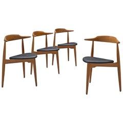"Hans J. Wegner Set of 4 ""Heart"" Chairs in Oak and Black Leatherette"
