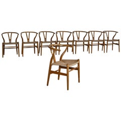 Hans J. Wegner Set of 8 Early Stamped Carl Hansen & Sons Wishbone Chairs, 1950s