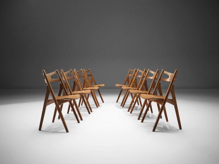 Scandinavian Modern Hans J. Wegner Set of Eight Matching 'Sawbuck' Chairs For Sale