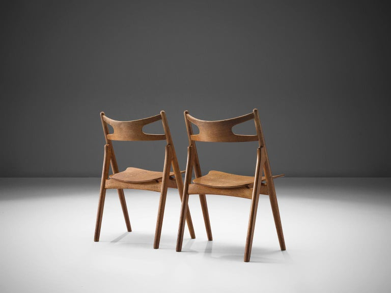 Mid-20th Century Hans J. Wegner Set of Eight Matching 'Sawbuck' Chairs For Sale