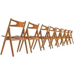 Hans J. Wegner Set of Eight Matching Sawbuck Chairs