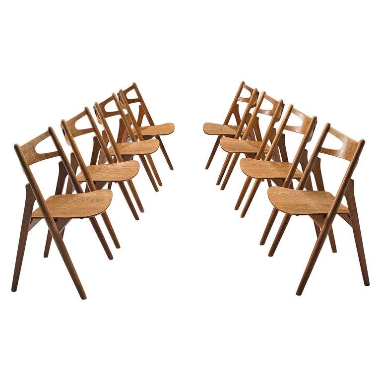 Hans J. Wegner Set of Eight Matching 'Sawbuck' Chairs For Sale