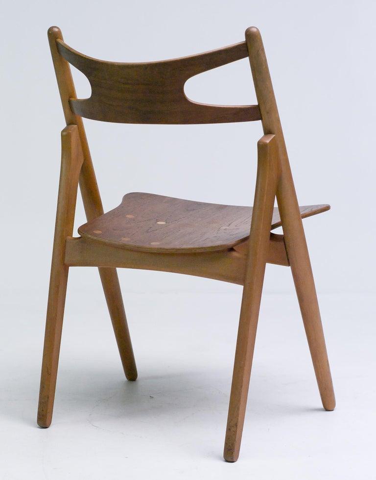 Scandinavian Modern Hans J. Wegner Set of Four Sawbuck Chairs For Sale