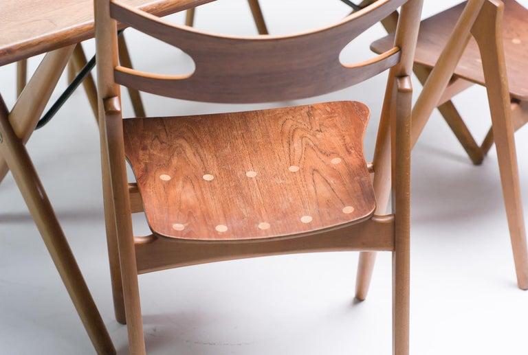 Danish Hans J. Wegner Set of Four Sawbuck Chairs For Sale