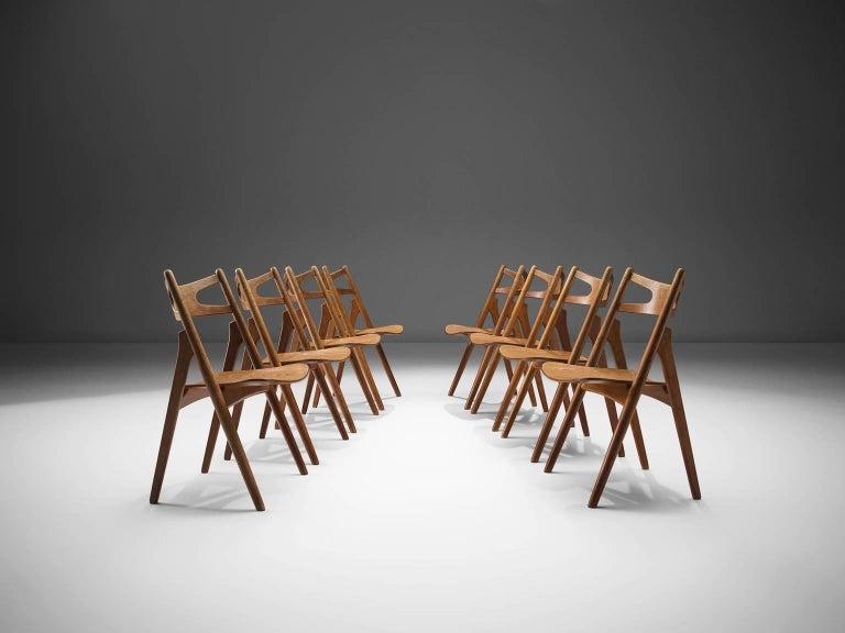 Hans J. Wegner Set of 'Sawbuck' Chairs for Carl Hansen For Sale 3