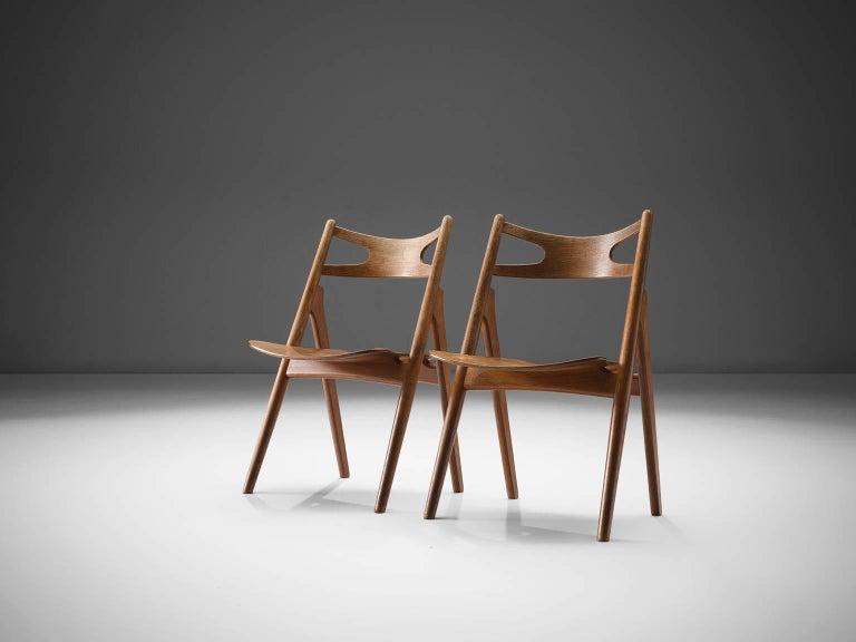 Mid-Century Modern Hans J. Wegner Set of 'Sawbuck' Chairs for Carl Hansen For Sale