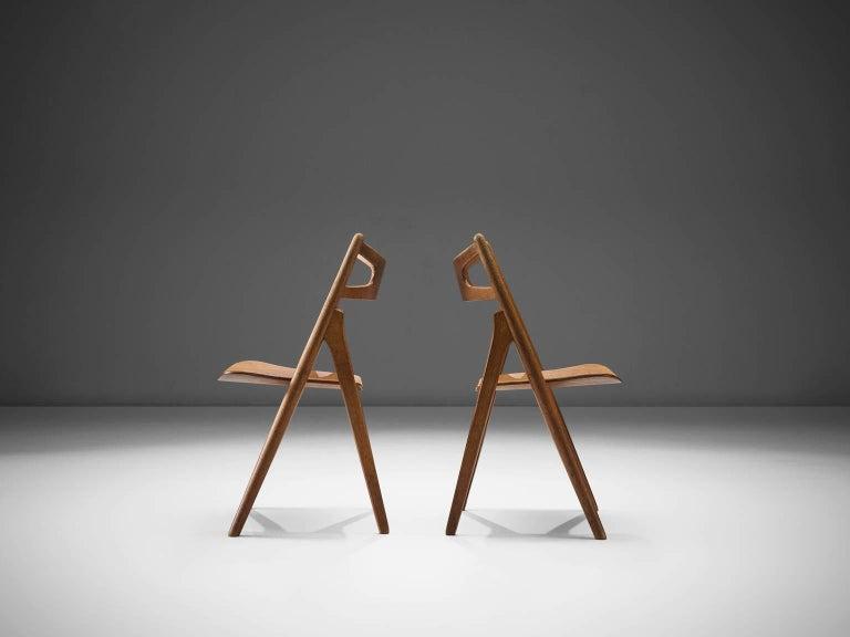 Hans J. Wegner Set of 'Sawbuck' Chairs for Carl Hansen In Good Condition For Sale In Waalwijk, NL
