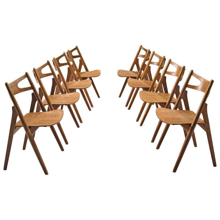 Hans J. Wegner Set of 'Sawbuck' Chairs for Carl Hansen For Sale