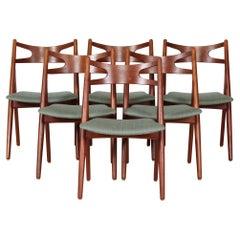Hans J. Wegner Set of Six Chairs of Teak Model CH29 Sawbuck Chairs, Carl Hansen