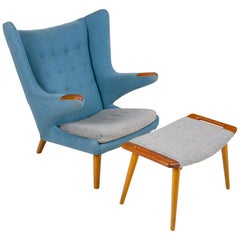 "Hans J. Wegner Signed ""Papa Bear"" Chair & Ottoman for AP Stolen Denmark, 1950s"