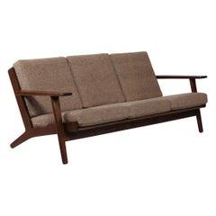 Hans J. Wegner Sofa GE 290 of Dark Oak and Light Brown Wool by GETAMA, 1970s