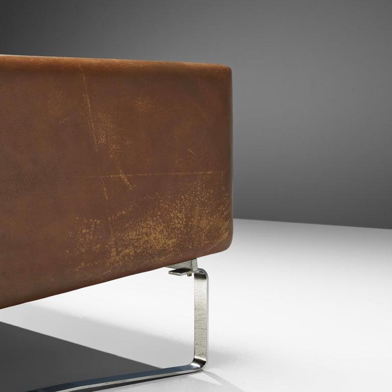 Hans J. Wegner Sofa Model 'CH103' in Brown Leather For Sale 4