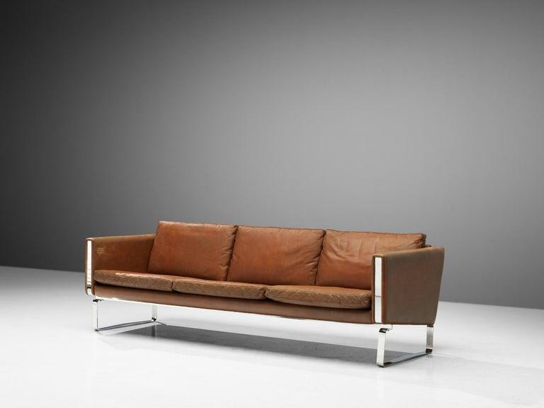 Mid-Century Modern Hans J. Wegner Sofa Model 'CH103' in Brown Leather For Sale