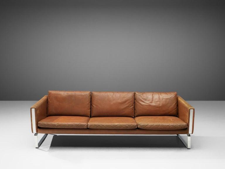 Danish Hans J. Wegner Sofa Model 'CH103' in Brown Leather For Sale
