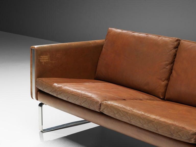 Hans J. Wegner Sofa Model 'CH103' in Brown Leather For Sale 1