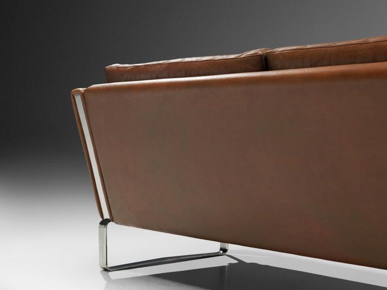 Hans J. Wegner Sofa Model 'CH103' in Brown Leather For Sale 3