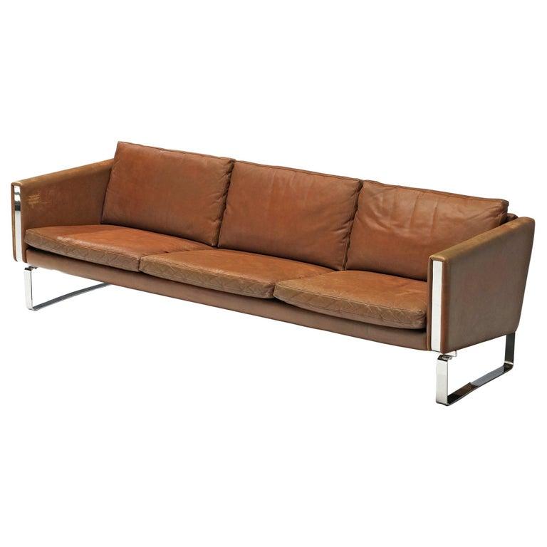 Hans J. Wegner Sofa Model 'CH103' in Brown Leather For Sale