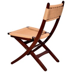 Clever Folding Chair Woven Rope Cord Solid Wood 1960s Danish Modern