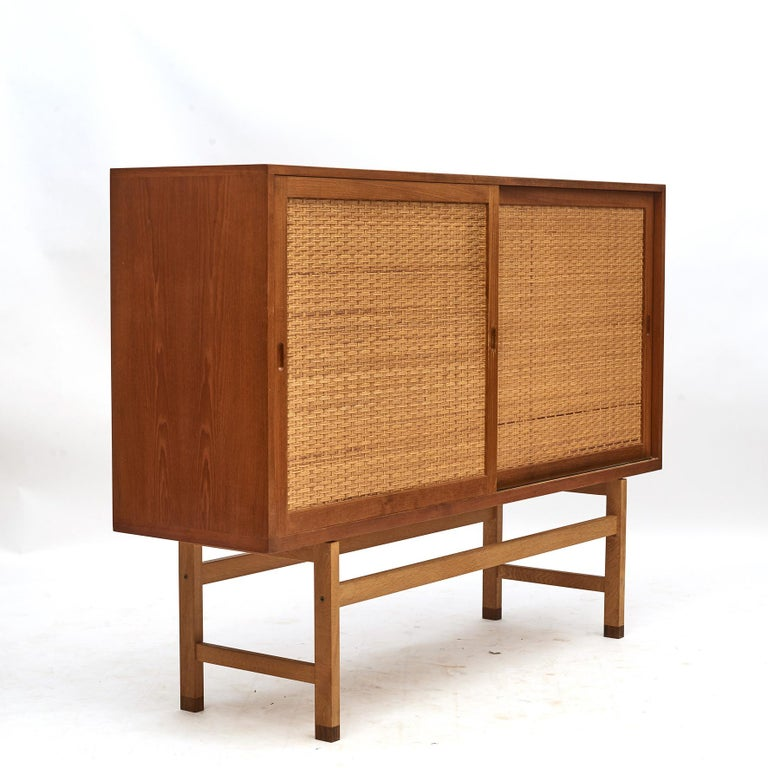 Hans J. Wegner, Tall Sideboard in Oak with Doors of Cane 12