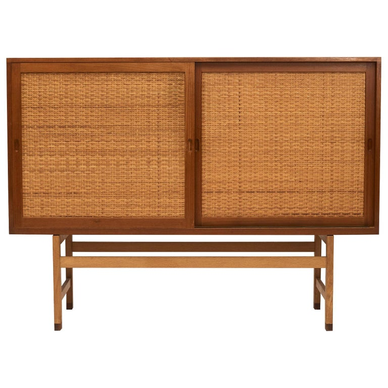 Hans J. Wegner, Tall Sideboard in Oak with Doors of Cane