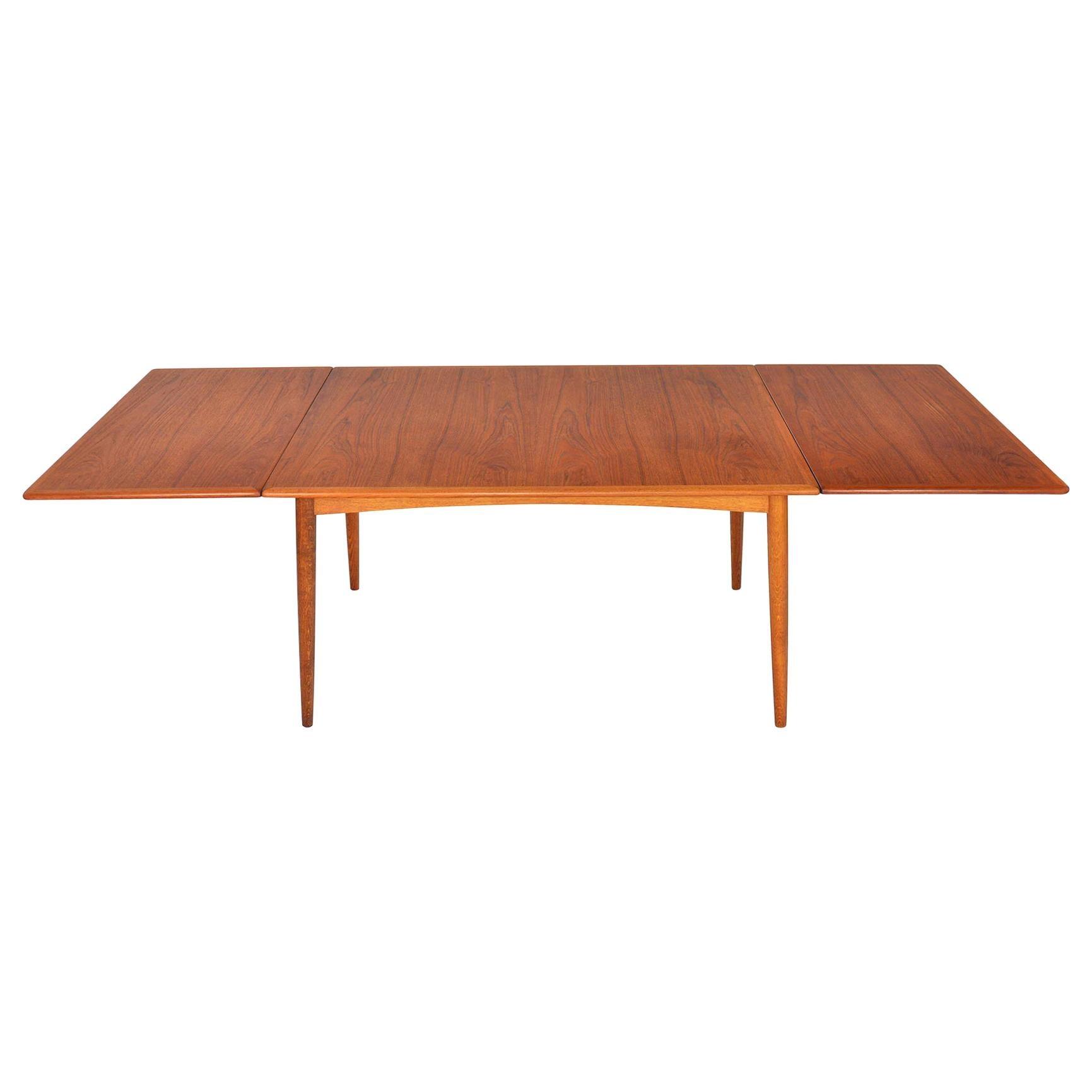 Hans J. Wegner Teak and Oak Drop Leaf Dining Table
