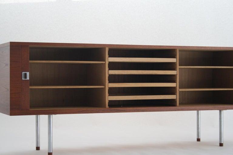 Danish Hans J. Wegner Teak Credenza, Model 25 Johannes Hansen, Denmark, circa 1965 For Sale