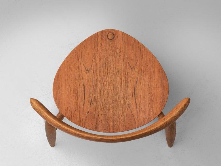 Patinated Teak and Oak 'Heart' dining room set by Hans J. Wegner for Fritz Hanse For Sale 6