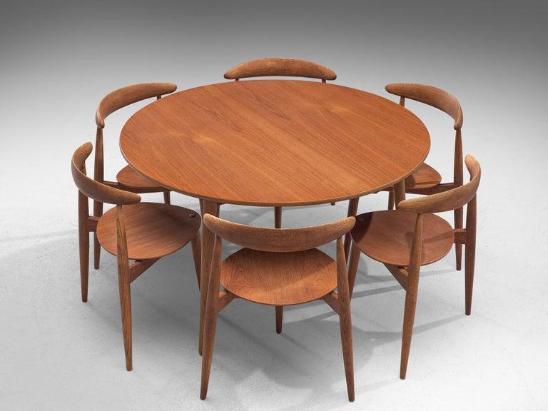 Scandinavian Modern Patinated Teak and Oak 'Heart' dining room set by Hans J. Wegner for Fritz Hanse For Sale