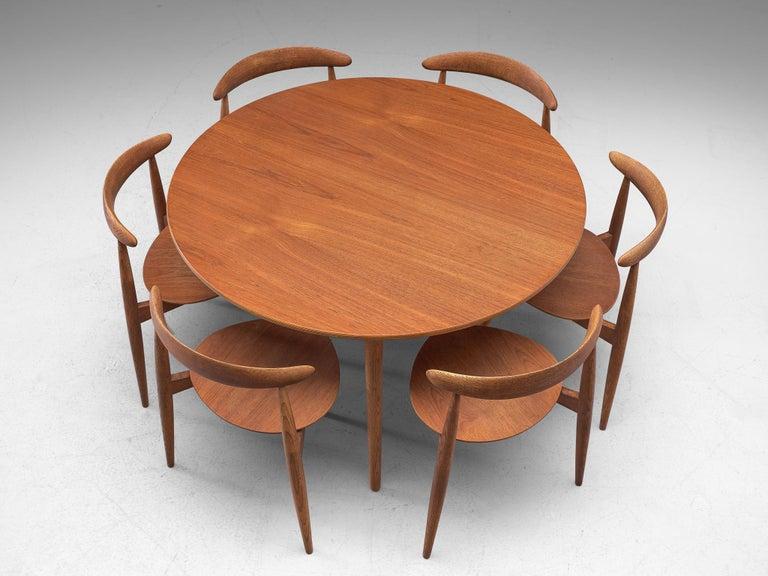 Danish Patinated Teak and Oak 'Heart' dining room set by Hans J. Wegner for Fritz Hanse For Sale