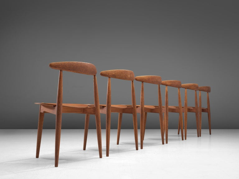 Mid-20th Century Patinated Teak and Oak 'Heart' dining room set by Hans J. Wegner for Fritz Hanse For Sale