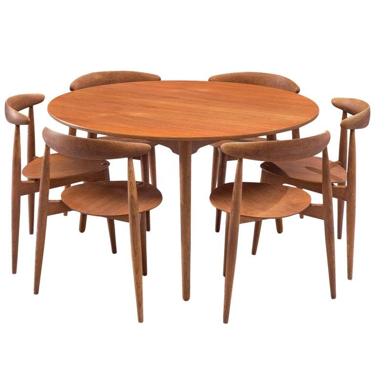 Patinated Teak and Oak 'Heart' dining room set by Hans J. Wegner for Fritz Hanse For Sale