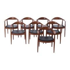 Hans J Wegner Teak 'Round' JH501 Dining Chairs, Set of 8