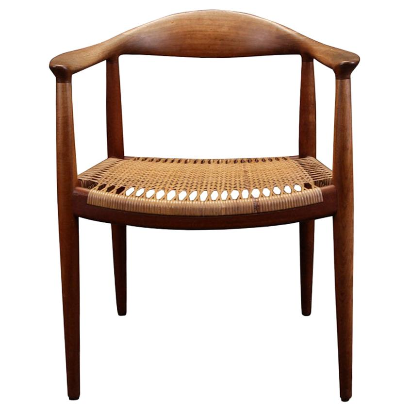 """Hans J. Wegner, """"the Chair"""" Model JH 501, 1949, Teak Dining Chair with Cane Seat"""