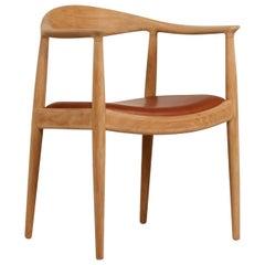 Hans J. Wegner The Chair Model No 503 Oak and Leather by Johannes Hansen 1970s