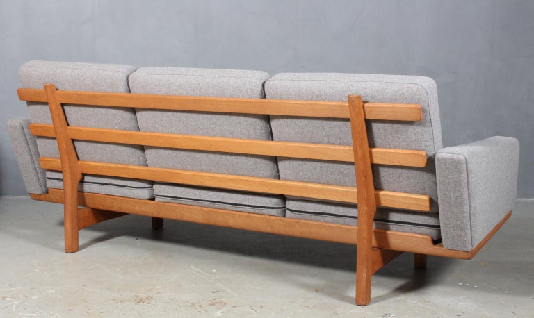 Wool Hans J. Wegner Three-Seat Sofa For Sale