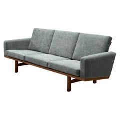 Hans J. Wegner Three-Seat Sofa Reupholstered in Blue Fabric