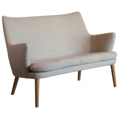 Hans J. Wegner Two-Seat Sofa in Oak and Fabric for AP Stolen