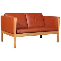 Hans J. Wegner Two-Seat Sofa, Model AP62/2, Leather and Oak, Denmark, 1960s