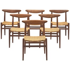 """Hans J. Wegner """"W2"""" Dining chairs with Wicker Seats"""