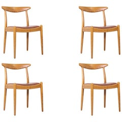 Hans J. Wegner W2 Oak and Leather Dining Chairs for C.M. Madsen